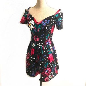 Vintage floral 80's shorts jumper dress